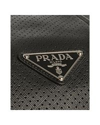 Prada - Gray Anthracite Perforated Saffiano Stripe Duffel Bag - Lyst