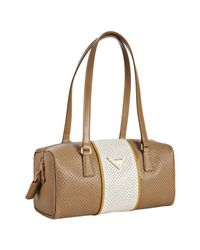 Prada | Natural Beige Perforated Saffiano Stripe Barrel Bag | Lyst
