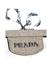 Prada - Natural Dark Beige Pvc and Linen Framed Top Bag - Lyst
