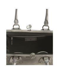 Prada | Gray Grey Leather Top Handle Crystal Kisslock Medium Bag | Lyst