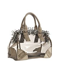 Prada - Gray Smoke Pvc and Linen Crystal Detail Doctors Bag - Lyst