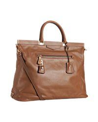Prada | Brown Tan Leather Large Frame Top Tote | Lyst