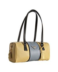 Prada | Yellow Perforated Saffiano Stripe Barrel Bag | Lyst
