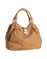Sorial | Natural Camel Ruched Leather Large Tote | Lyst