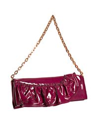 Valentino | Purple Bordeaux Patent Leather Convertible Ruffle Clutch | Lyst