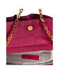 Valentino - Purple Bordeaux Patent Leather Convertible Ruffle Clutch - Lyst