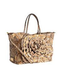 Valentino | Natural Tan Snake Embossed Rosette Handbag | Lyst