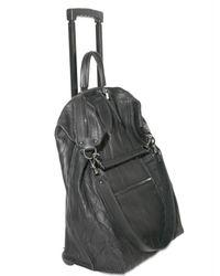 Elena Ghisellini - Black Distressed Calfskin Trolley Luggage - Lyst