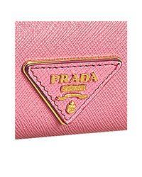 Prada - Pink Begonia Saffiano Logo Clutch - Lyst