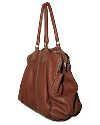 Sissi Rossi - Brown Washed Bufalo Tote - Lyst