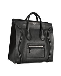 Céline - Black Leather Medium Shopper Tote - Lyst