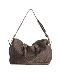Deux Lux - Gray Clay Woven Faux Leather Luella Overnight Bag - Lyst