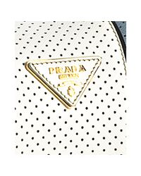 Prada - Light Blue Perforated Saffiano Stripe Barrel Bag - Lyst