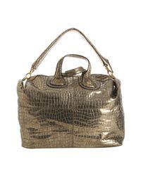 Givenchy - Metallic Gold Crocodile Embossed Leather Nightingale Medium Satchel - Lyst