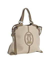 Cartier | Natural Taupe Canvas Leather Detail Marcello Shopping Bag | Lyst