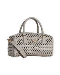 Prada - Natural Powder Pink Saffiano Leather Eyelet Top Handle Bag - Lyst