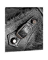 Balenciaga - Gray Anthracite Lambskin City Medium Satchel - Lyst