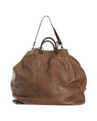 Brunello Cucinelli | Brown Monilitrim Leather Zip Satchel Bag | Lyst