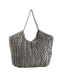 Elie Tahari - Metallic Silver Chevron Leather Beverly Tote - Lyst
