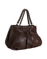 Fendi | Dark Brown Pebble Leather Chain Large Tote | Lyst