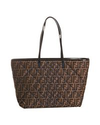 Fendi - Brown Tobacco and Blue Quilted Zucca Roll Large Tote - Lyst