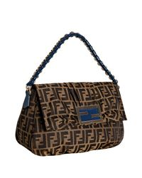 Fendi | Brown Tobacco and Blue Zucca Canvas Chain Shoulder Bag | Lyst