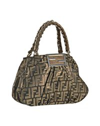 Fendi | Brown Tobacco and Gold Zucca Mia Small Chain Bag | Lyst