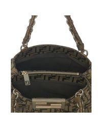 Fendi - Brown Tobacco and Gold Zucca Mia Small Chain Bag - Lyst