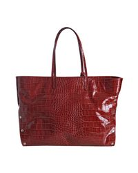 Furla - Red Cherry Croc Embossed Leather Chari Tote - Lyst