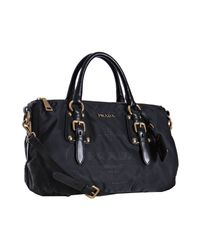 Prada | Black Nylon Jacquard Logo Leather Detail Bag | Lyst