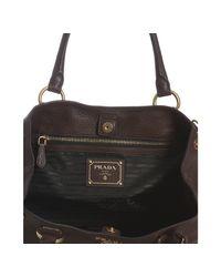 Prada - Brown Burnt Pebbled Leather Medium Shoulder Bag - Lyst