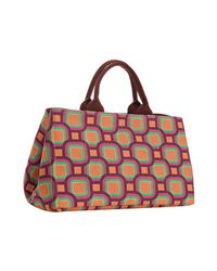 Prada | Purple Plum Canvas Small Geometric Pattern Tote | Lyst