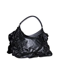 Valentino | Black Leather Ruffle Detail Shoulder Bag | Lyst