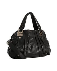 Junior Drake | Black Leather Breanna Pleated Medium Shoulder Bag | Lyst