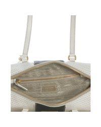 Prada - White Perforated Saffiano Stripe Barrel Bag - Lyst