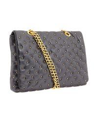 Badgley Mischka | Blue Kelly Studded Leather Flap Bag | Lyst