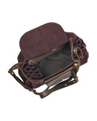 Vanessa Bruno Purple Leather and Suede Satchel