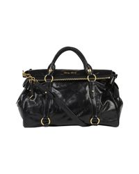 Miu Miu | Large Black Vitello Bow Bag | Lyst