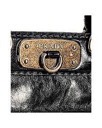 Prada | Black Vitello Shine Leather Large Frame Satchel | Lyst