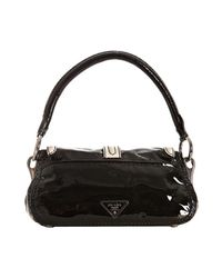 Prada - Black Vitello Shine Leather Turnlock Shoulder Bag - Lyst