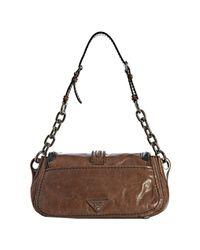 Prada - Brown Rosewood Vitello Shine Leather Chain Shoulder Bag - Lyst