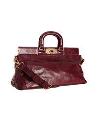 Prada | Red Amaranto Vitello Shine Leather Small Frame Satchel | Lyst