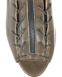 Acne Studios Green Fusion Leather Peep-toe Boots