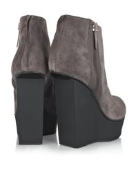 Acne Studios Gray Hybria Suede Wedge Boots