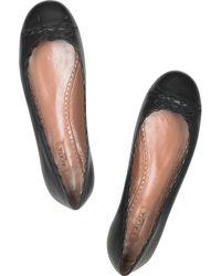 Alaïa Black Leather Ballerina Flats