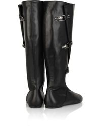 Alexander McQueen Black Buckle-detail Leather Knee Boots
