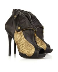 Alexander McQueen Black Winged Leather Ankle Boots