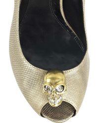 Alexander McQueen Metallic Snakeskin Peep-toe Pumps