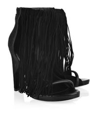 Alexander Wang | Black Dree Fringed Leather Sandals | Lyst