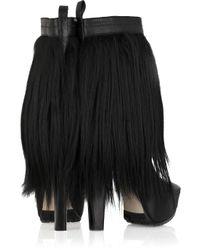 Alexander Wang Black Polina Goat Fur Leather Boots